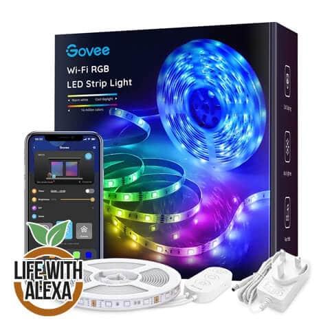 Govee LED Strip Lights 5m, Smart WiFi APP Control RGB Colour Changing Music Sync Strips Lights